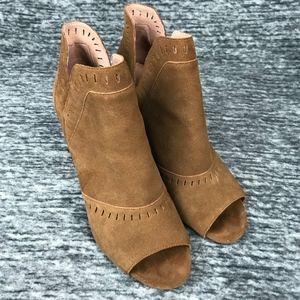 Halogen Deanna Suede Leather Open Toe Bootie 10